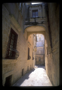 Walkway and typical architecture, Valetta, Malta.