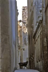 Cobbled street, Valetta, Malta.