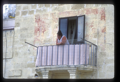 Surveying her domain, which is a street in Valetta, Malta.
