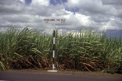 Road sign, Mauritius.
