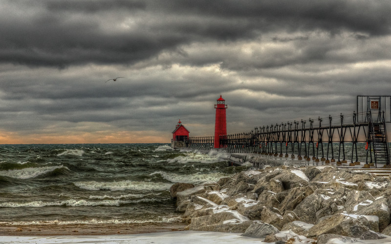 HDR image of the Grand Haven Lighthouse.