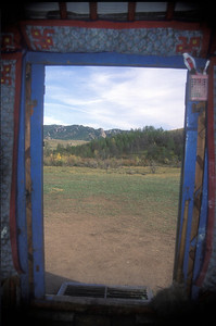 Doorway of traditional ger, rural Mongolia.