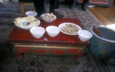 Lunch bowls in a ger in rural Mongolia.