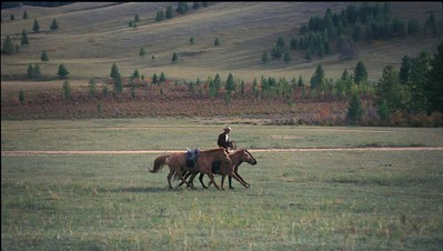 The Mongolian steppe.