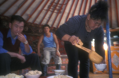 Lunch is served in a traditional ger, rural Mongolia.
