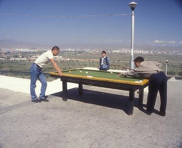 Outdoor billiards in Ulan Bataar, Mongolia.