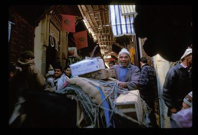 Narrow market street, Fez, Morocco.