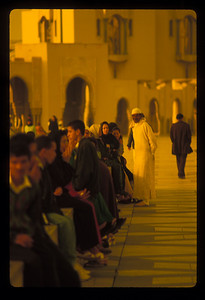The crowd on the plaza outside Hassan II mosque, Casablanca, Morocco.