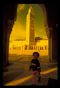 Child outside Hassan II mosque, Casablanca, Morocco.
