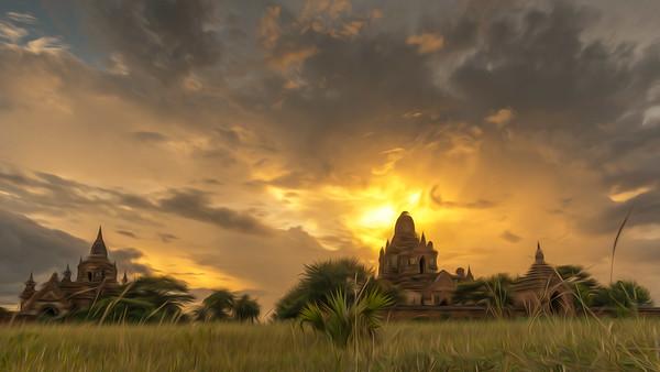 Bagan oil paint style, Myanmar