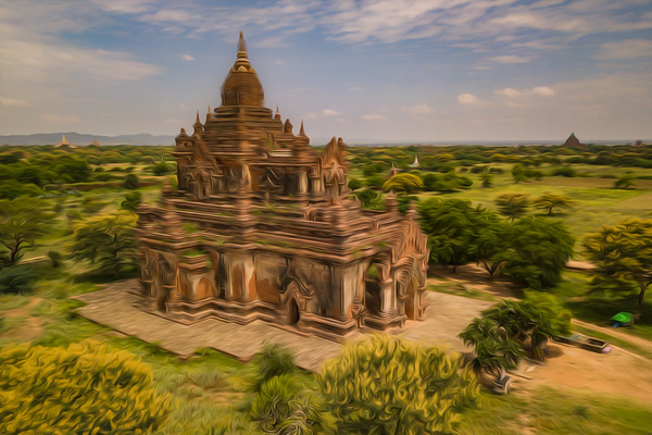 Bagan oil paint style, Myanmar