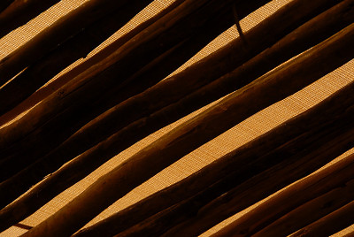 Roof of natural materials, camp at Sossusvlei National Park, Namibia.