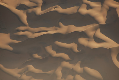 Aerial view of sand dunes, Namib-Naukluft National Park, Namibia.