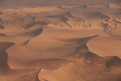Aerial view of sand dunes in Namib-Naukluft National Park, Namibia.