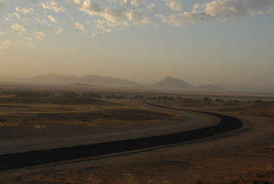 The road to Sossusvlei, Namibia.