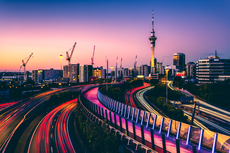 Auckland Light Trails At Blue Hour
