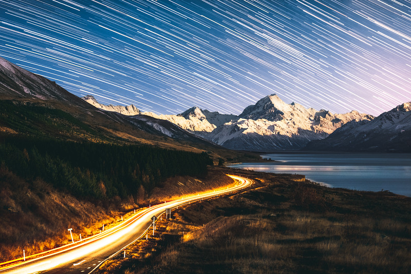 Road to Mt. Cook Star Trails