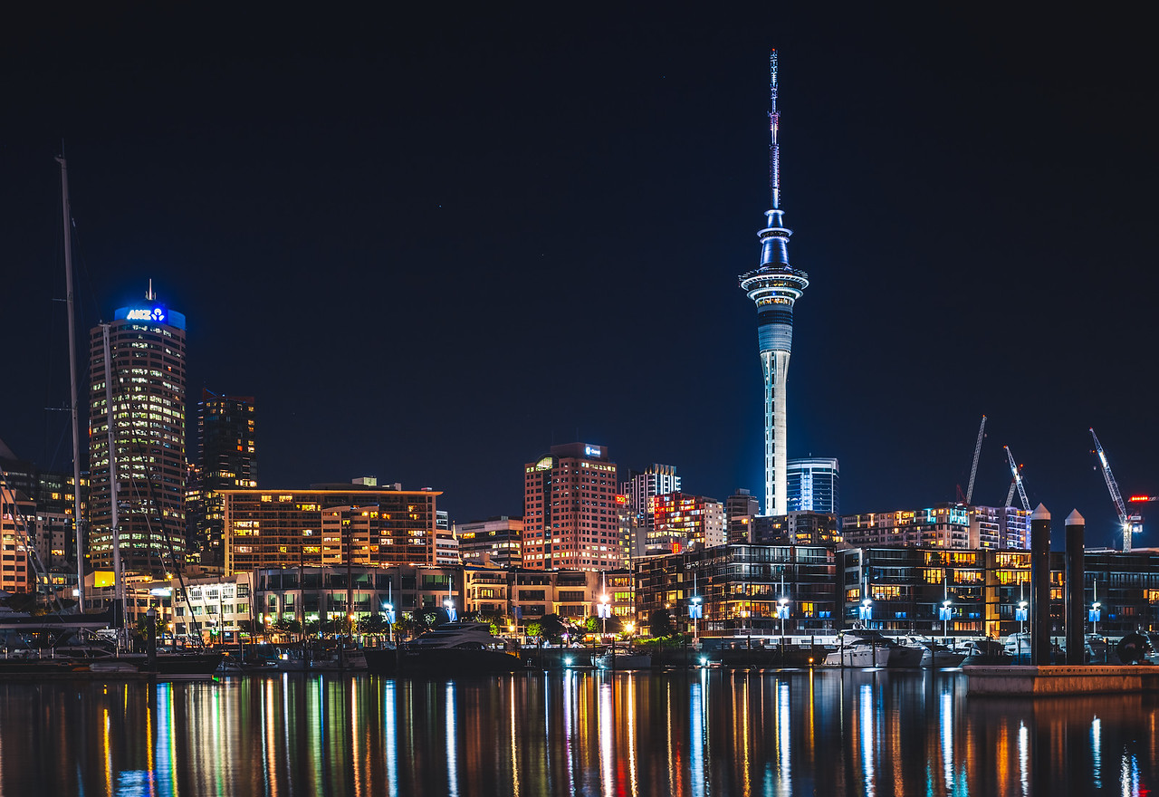 Auckland City Skyline Reflections