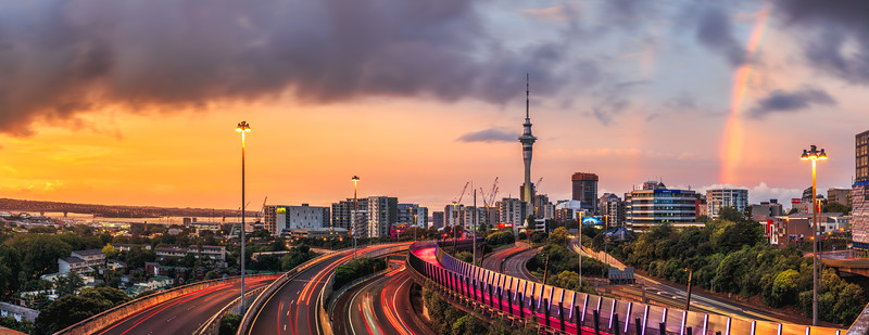 Auckland City Sunset Panorama