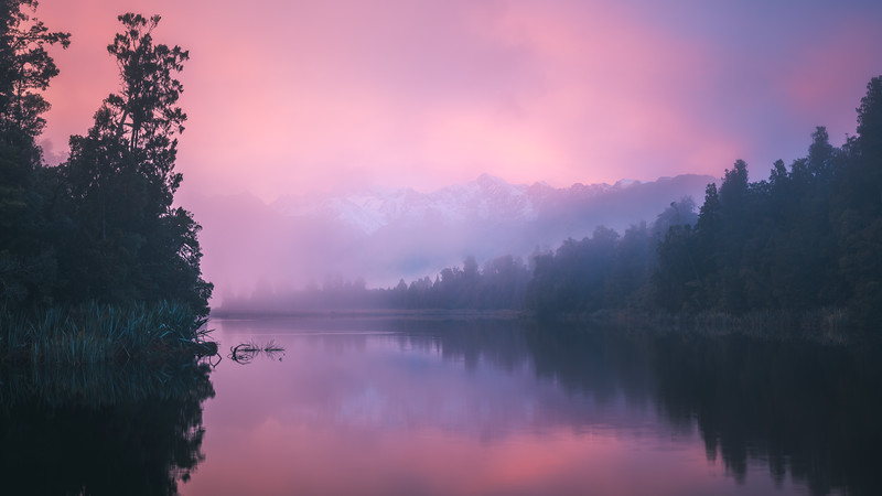 Lake Matheson Foggy Morning