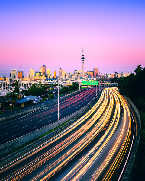 Auckland Blue Hour Light Trails