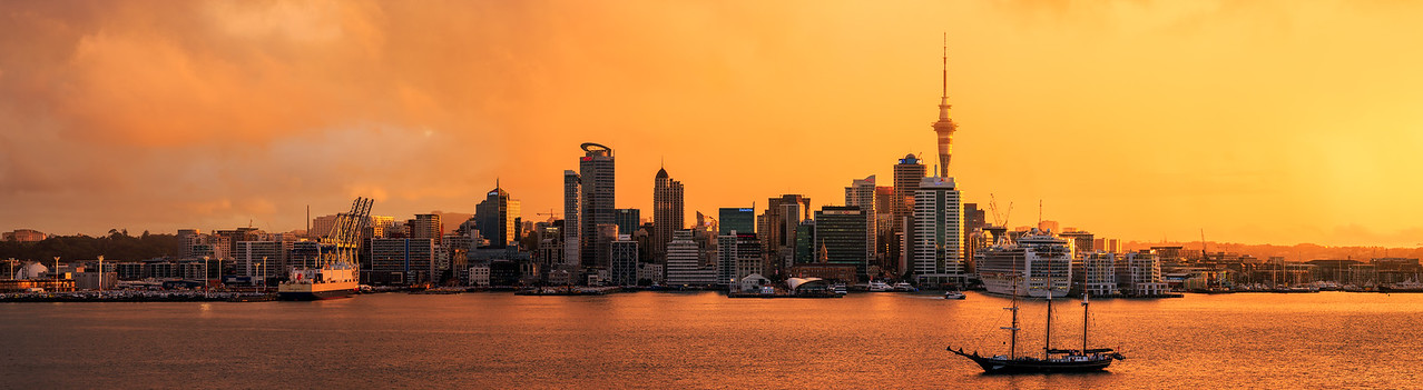Auckland Sunset Panorama 2