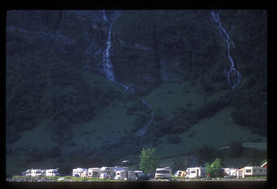 Waterfall and campers, Norway.