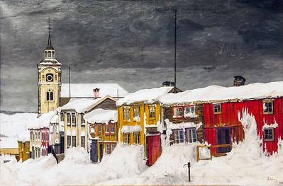 Street in Røros in Winter, Harald Sohlberg, 1903, Oslo, Norway museum