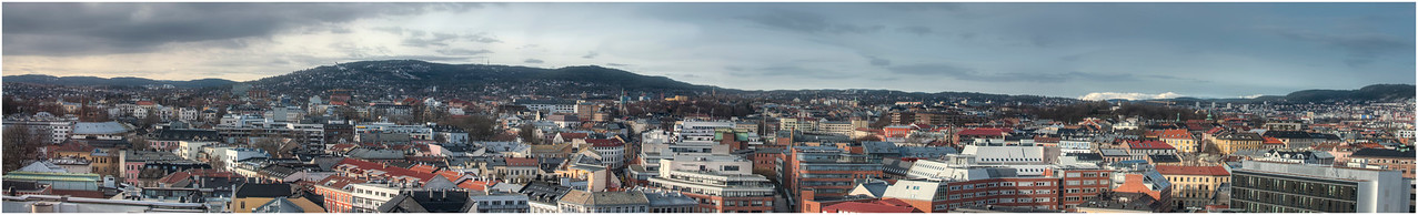 This is a 52 inch panorama of the rooftops of Oslo, Norway