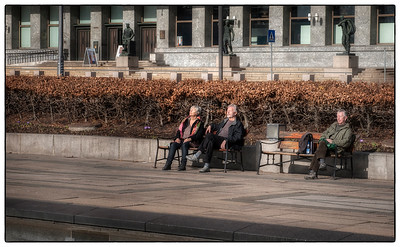 Sun worshippers just before spring. March in Oslo, Norway