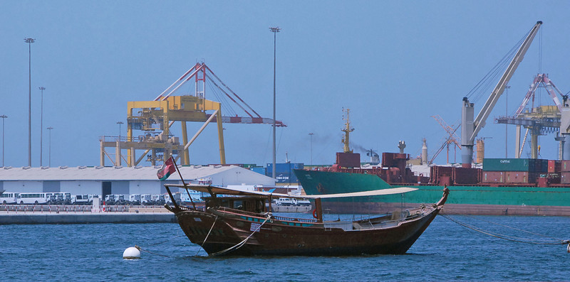 Dhow on the waterfront, Muttrah, Oman.