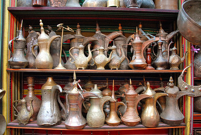 Teapots in the Muttrah Souk, Muttrah, Oman.