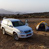 Tent besides car at national park - Oman