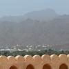 View over ramparts of the Nizwa fort, Nizwa, Oman.