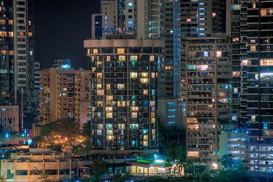 Night skyline detail, Panama City, Panama.