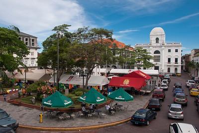 Cathedral Square, Casco Viejo, Panama City, Panama.