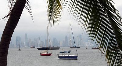Skyline from along the Amador Causeway, Panama City, Panama.