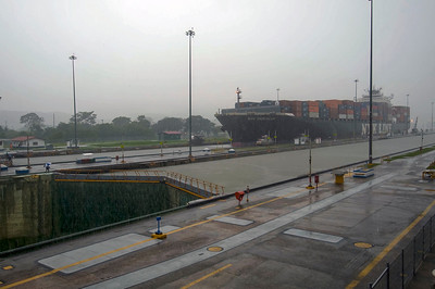 Passage through locks at the Panama Canal.