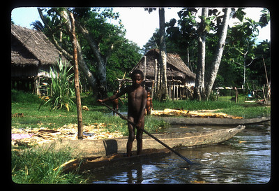 Canoes on the Sepik River, Papua New Guinea.