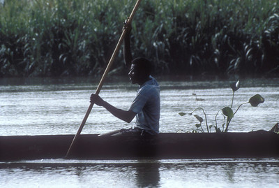 Canoe on Sepik River, Papua New Guinea.
