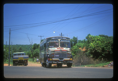 The Itaugua - Asuncion bus enters the Pan American Highway, Paraguay.
