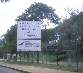 Border control at Cuidad del Este, Paraguay, on the Brazilian border.