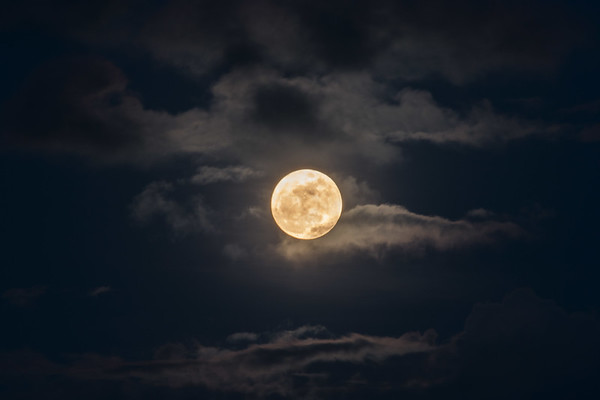 Supermoon in the clouds