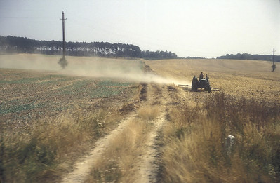 Farm and tractor, rural Poland.
