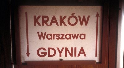 Sign on a local train, Poland.