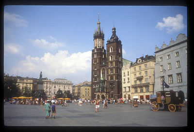 St. Mary's Church in Rynek Glowny, the Market Square, Krakow, Poland.