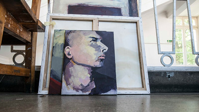 Painting at the University of Warsaw Art School, Warsaw, Poland.