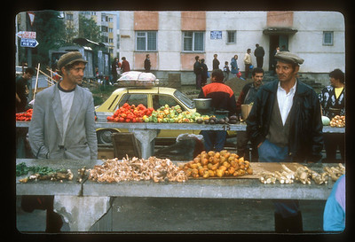 Roma produce salesmen at Sighisoara, Transylvania, Romania, farmer's market.