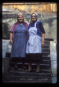 Portrait of best friends, Sighisoara, Transylvania, Romania.