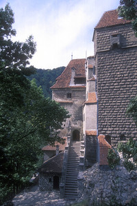 Around back at Bran Castle, Bran, Romania, marketed as the home of the star of the book Dracula, by Bram Stoker.